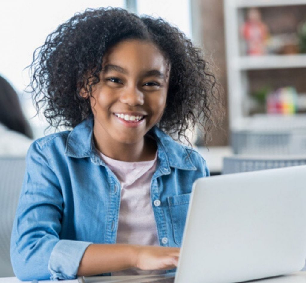 black, African American girl coding, virtual tech camps, virtual classes, coding, computer camp