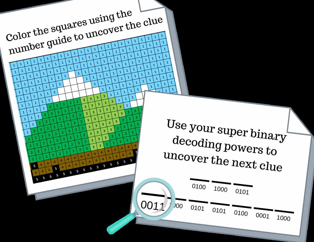 crack the code, sample worksheets, pixel art, super sleuth camp